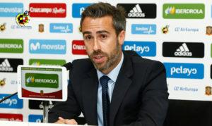 Jorge Vilda, seleccionador nacional, en una rueda de prensa