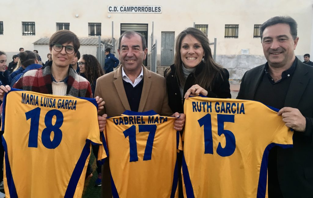 Maria Luis García (presidenta CD Camporrobles) Gabriel Mata (alcalde Camporrobles) Ruth García y Salva Gomar