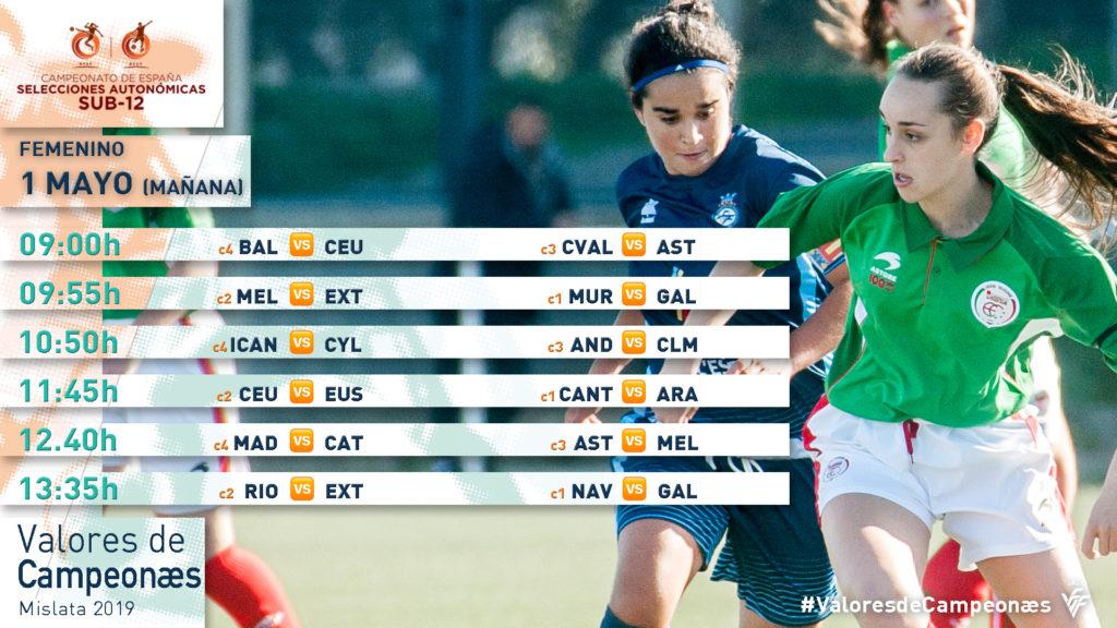 Calendario Campeonato España sub12 Valores de Campeonæs - 1 de mayo - Turno de mañana