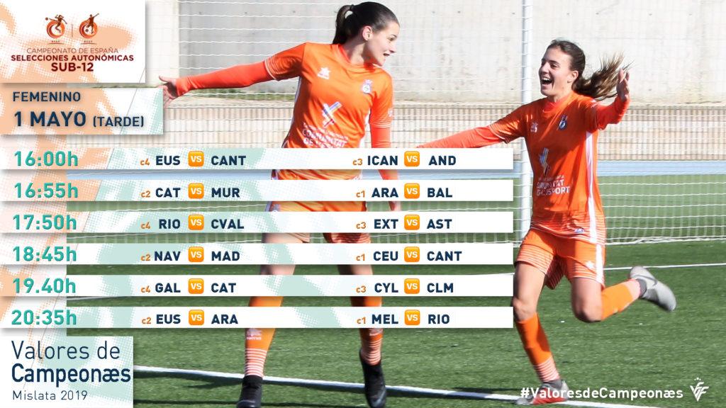 Calendario Campeonato España sub12 Valores de Campeonæs - 1 de mayo - Turno de tarde
