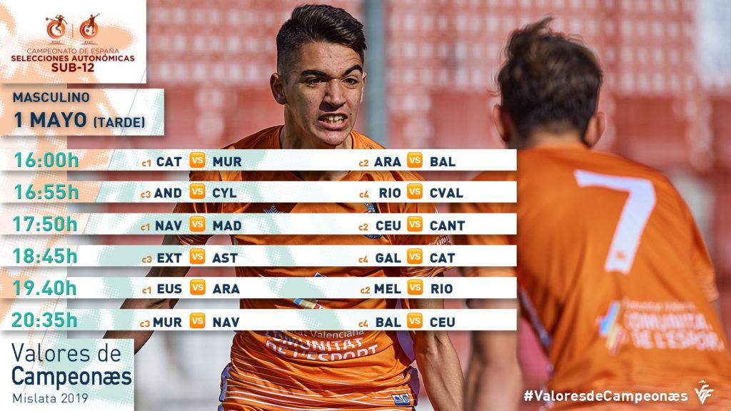 Calendario Campeonato España sub12 Valores de Campeonæs - 2 de mayo - Turno de tarde