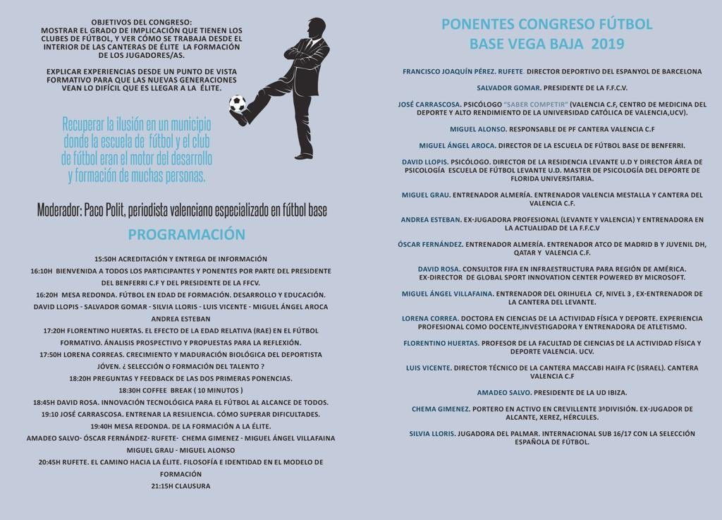 Cartel ponentes I Congreso Fútbol Vega Baja