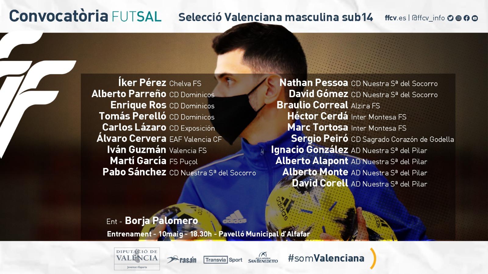 Convocatoria sub14 futsal masculina Alfafar Borja Palomero