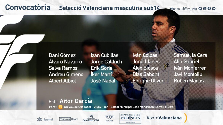 Convocatoria sub14 Aitor García amistoso Vall d'Uixó