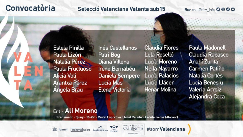 CONVOCATORIA Valenta sub15 Alicia Moreno La Vila Joiosa