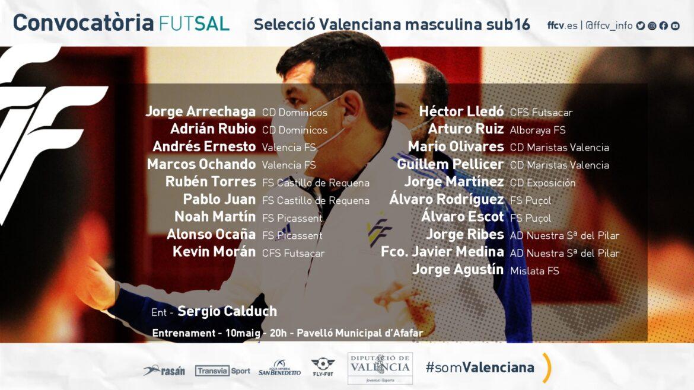 Convocatoria sub16 futsal masculina Alfafar Sergio Calduch