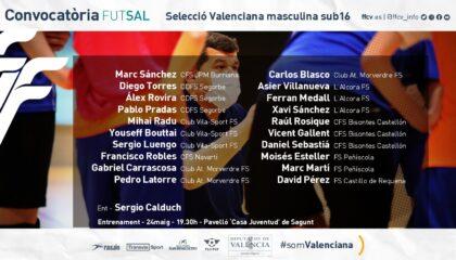 convocatoria Selecció Valenciana sub16 futsal Calduch