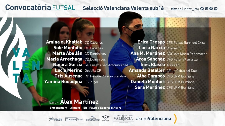 convocatoria Valenta sub16 futsal Alzira