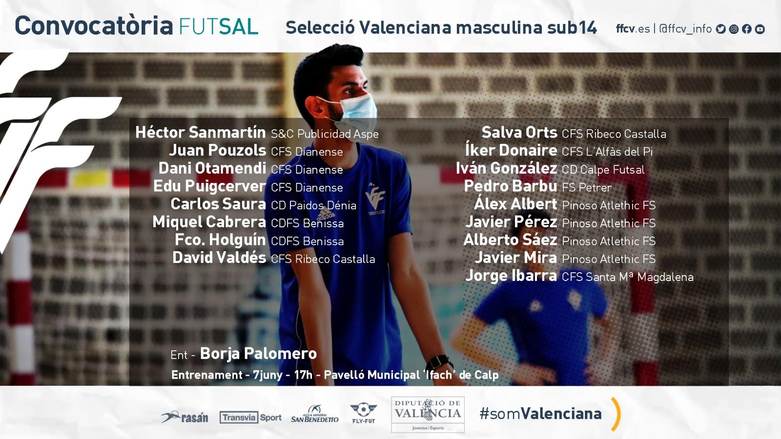 Convocatoria sub14 futsal masculina Borja Palomero Calpe