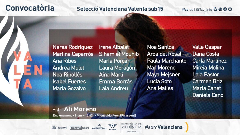 Convocatoria Selecció Valenta sub15 Ali Moreno Picassent
